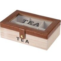 Filteres tea tárolódoboz bőrrel, 24 x 16 x 8 cm, barna
