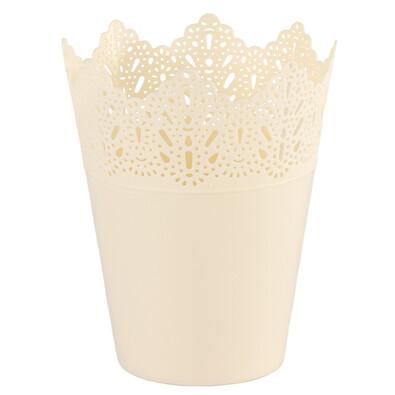 Plastový obal na kvetináč Čipka 15 cm, smotanová