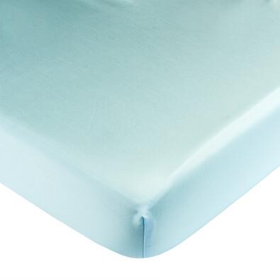 Saténové prostěradlo s gumou světle modrá, 180 x 200 cm