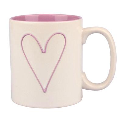Keramický hrnček Srdce 600 ml, ružová