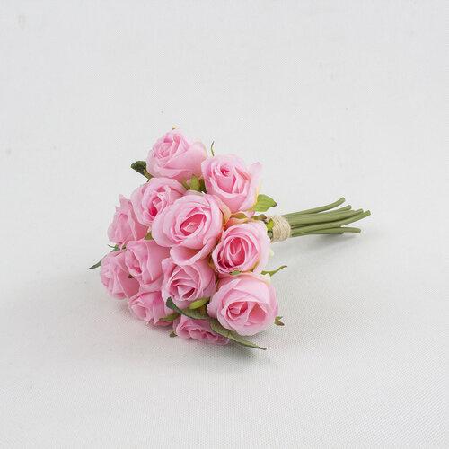 Umelá kytica Ruža ružová, 26 cm