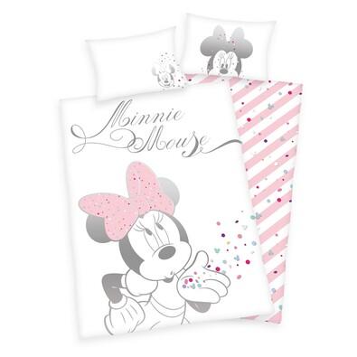 Detské bavlnené obliečky do postieľky Minnie Mouse, 100 x 135 cm, 40 x 60 cm