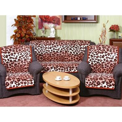Přehozy na sedací soupravu Karmela Leopard cihlový, 150 x 200 cm, 2 ks 65 x 150 cm