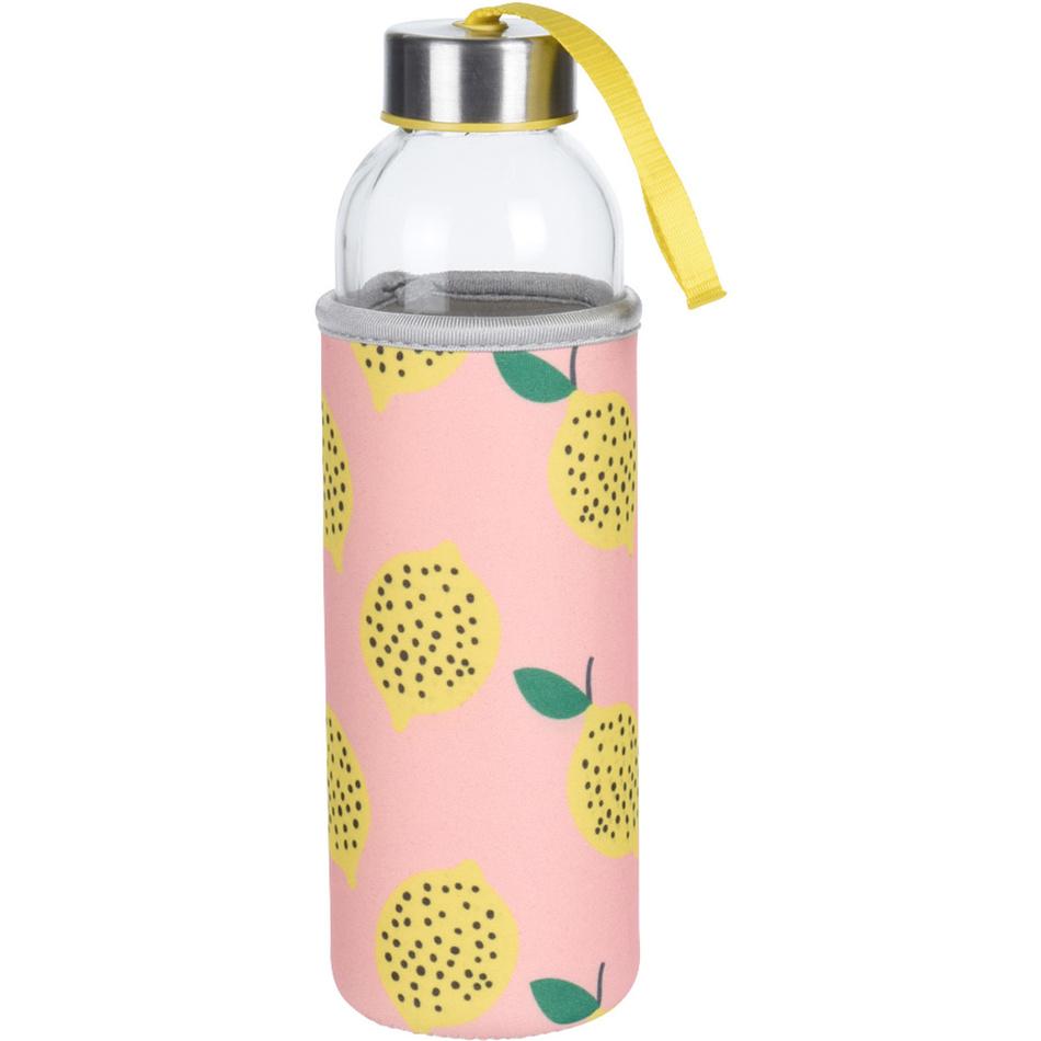 Sklenená fľaša na vodu Lemon, 400 ml