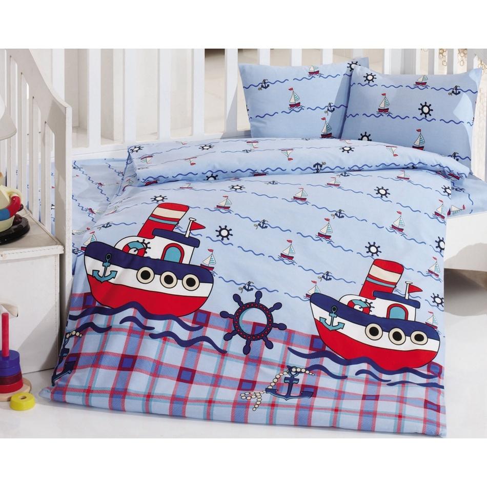 BedTex Detské bavlnené obliečky do postieľky Lodičky, 100 x 135 cm, 40 x 60 cm