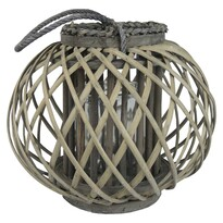 Dřevěná lucerna Aura 27 x 24 cm, šedá