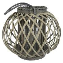 Drevený lampáš Aura 27 x 24 cm, sivá