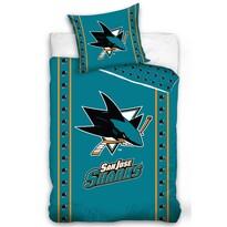 Lenjerie de pat NHL San Jose Sharks Stripes, din bumbac, 140 x 200 cm, 70 x 90 cm