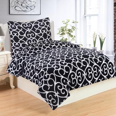 Lenjerie de pat Venezia Black, din micro-pluș, 140 x 200 cm, 70 x 90 cm