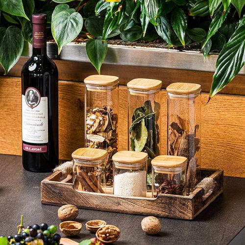 Recipient de sticlă 4Home pentru alimente cu   capac Bamboo, 170 ml
