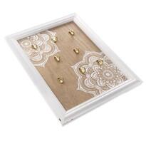 Drewniany wieszak na klucze Mandala, 8 haczyków, 25 x 35 x 3,5 cm