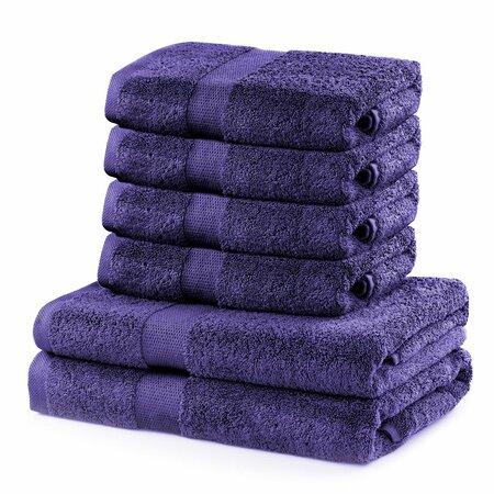 DecoKing Zestaw ręczników Marina fioletowy, 4 szt. 50 x 100 cm, 2 szt. 70 x 140 cm