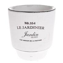 Recipient ceramic de ghiveci Le jardinier, alb, 14,5 cm