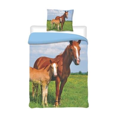 Bavlněné povlečení Koně, 140 x 200 cm, 70 x 90 cm