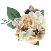Umelá kytica Ruže s hortenziou, béžová