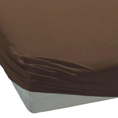 BedTex jersey prostěradlo tmavě hnědá, 90 x 200 cm