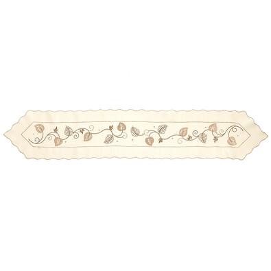 Vyšívaný ubrus Listy, 30 x 160 cm