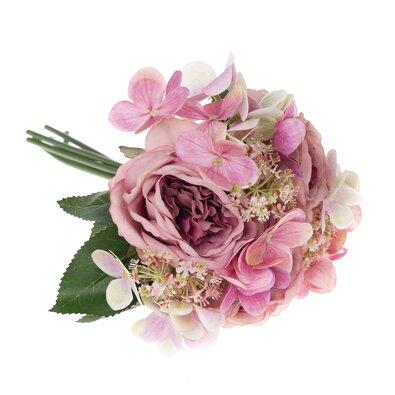 Sofia művirág csokor rózsával és hortenziával, 28 cm