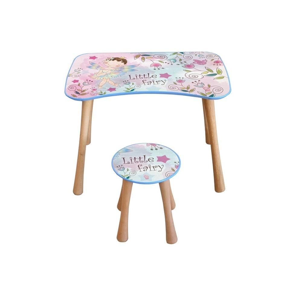 Dětský stolek se stoličkou Květinová víla, 65 x 41 x 47 cm