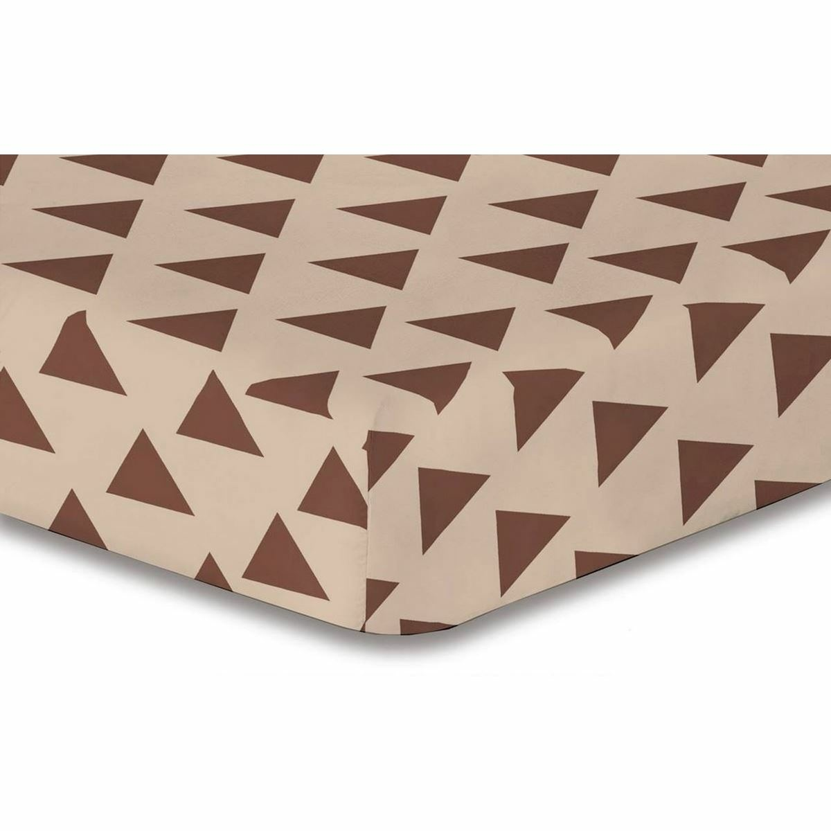 DecoKing Prostěradlo Triangles hnědá S1, 160 x 200 cm