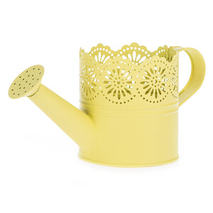 Kovová konvička Lace žlutá, pr. 10 cm
