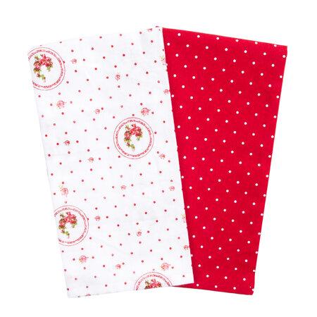 Country konyhai törlőkendő piros pöttyös, 50 x 70 cm, 2 db-os szett