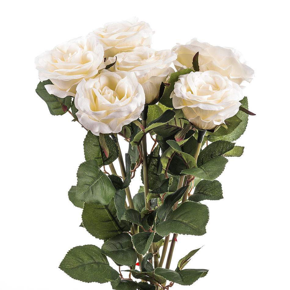 Umělá kvetina ruže, biela, darčekové balenie 6 ks, livo