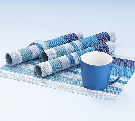 Plastové prostírání modré proužky, 40 x 30 cm, sada 4 ks