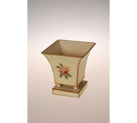 Květináč kovový, Loira, 15 cm, béžová