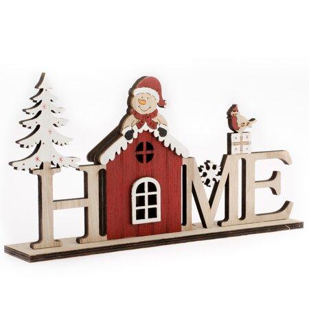 Vianočný nápis so snehuliakom, červená