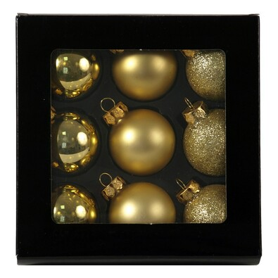 Skleněné vánoční koule, zlaté, 9 ks, zlatá