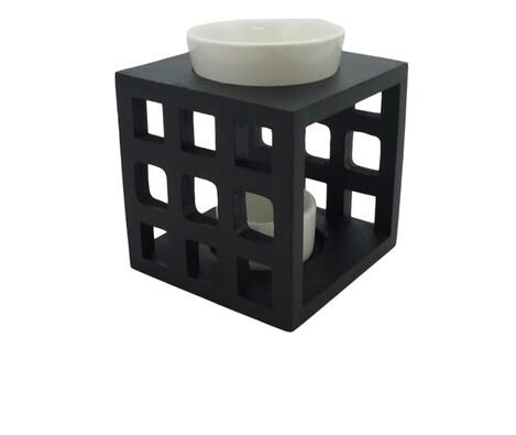 Aromalampa keramika a dřevo černá