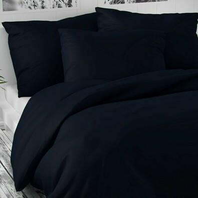 Saténové povlečení Luxury Collection tmavě modrá, 240 x 220 cm, 2 ks 70 x 90 cm