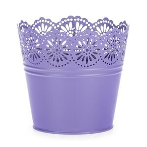 Zinkový květináč Krajka fialová, pr. 13,5 cm