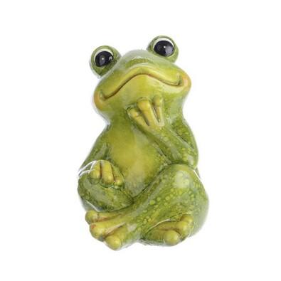 Dekorační žába Relax, zelená, 14 cm