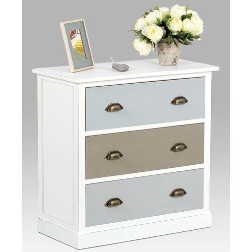 Dřevěná komoda 3 zásuvky bílá, 80 x 40 x 80 cm