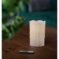 Świeczka woskowa LED z pilotem, 8 x 12,5 cm