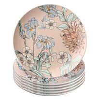 Altom Sada dezertných tanierov Pink Flowers 20 cm, 6 ks