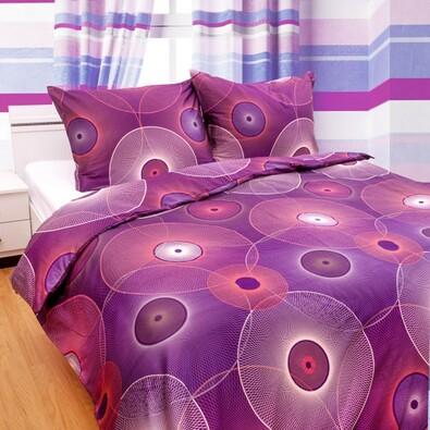 Satynowa pościel Nos Dimension fioletowa, 140 x 200 cm, 70 x 90 cm