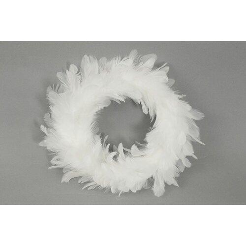 Vianočný veniec Pierka biela, pr. 25 cm