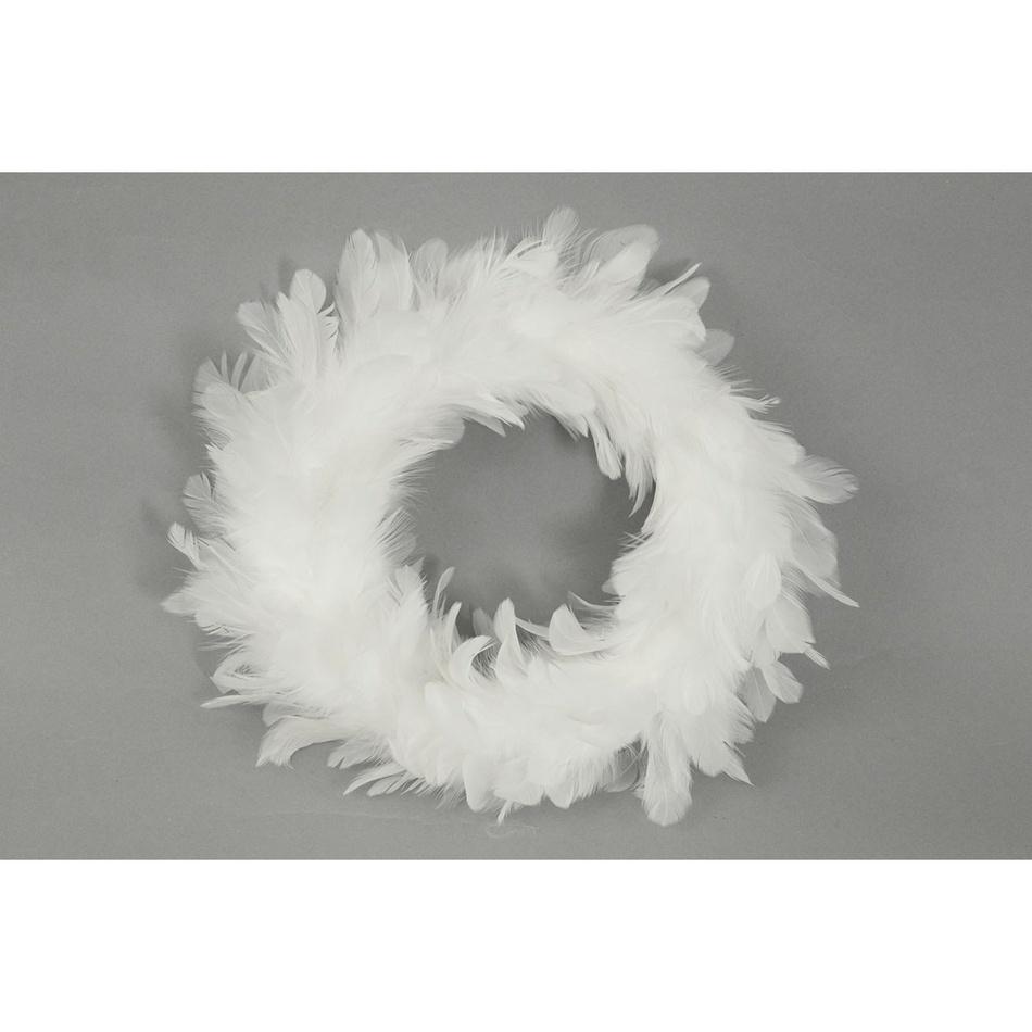 Vánoční věnec Pírka bílá, 25 cm