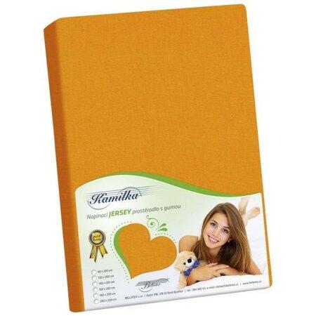 Jersey prostěradlo Kamilka oranžová  , 160 x 200 cm
