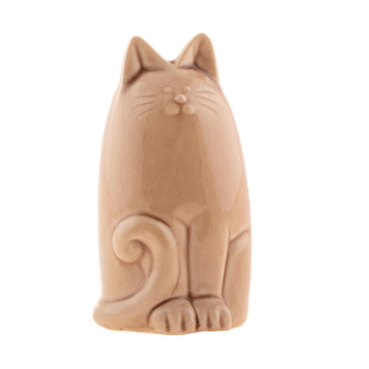 Keramická kasička kočka 14,5 cm, hnědá