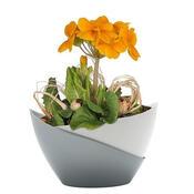Samozavlažovací květináč Doppio, bílá + stříbrná