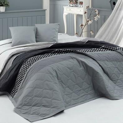 BedTex Eiffel ágytakaró szürke, 220 x 240 cm, 2 x 40 x 40 cm