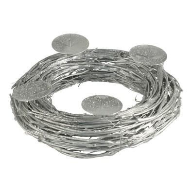 Adventní věnec se 4 bodci, stříbrný, stříbrná
