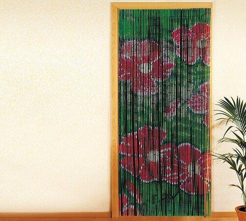 Bambusové závesy, zelené kvety, 90 x 200 cm