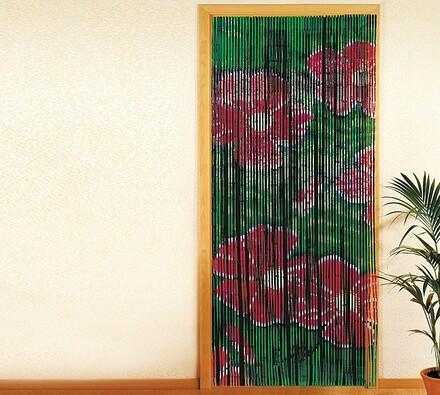 Bambusový závěs Květy, 90 x 200 cm