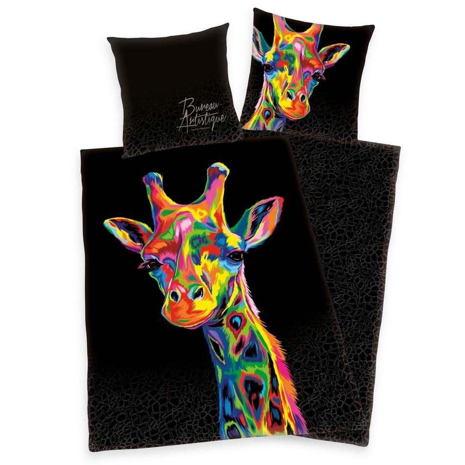 Herding Saténové povlečení Bureau Artistique - Colored Giraffe, 140 x 200 cm, 70 x 90 cm