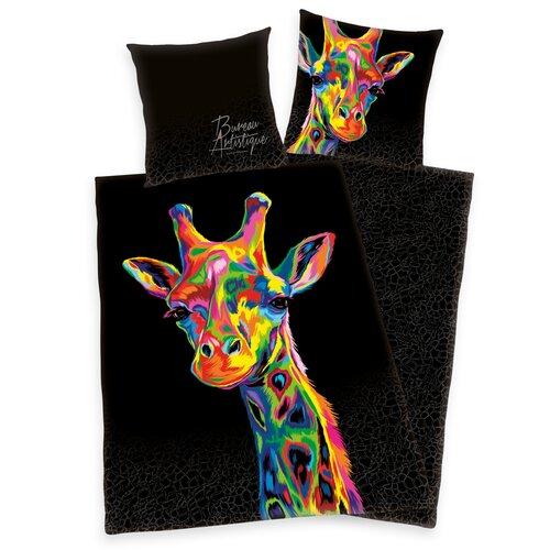 Saténové povlečení Bureau Artistique - Colored Giraffe, 140 x 200 cm, 70 x 90 cm